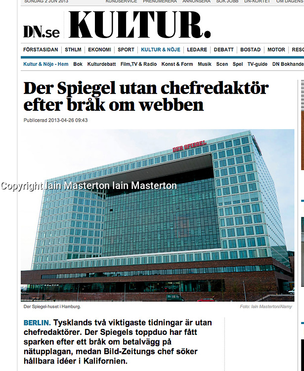 DN.se online newspaper; Der Spiegel headquarters in Hamburg