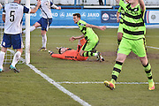 Forest Green Rovers Christian Doidge(9) scores 2-1 during the Vanarama National League match between Barrow and Forest Green Rovers at Holker Street, Barrow, United Kingdom on 28 January 2017. Photo by Mark Pollitt.