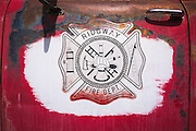 Old fire truck emblem, Ridgway, Colorado USA