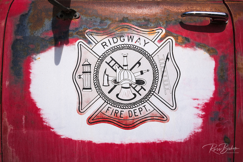 Old fire truck emblem, Ridgway, Colorado USA