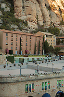 The serrated summit of Montserrat tower over the Bendictine monastery of the same name on the outskirts of Barcelona, Spain