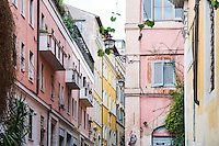 Colorful Buildings in Alleyway in Quirinale Hill, Rome, italy