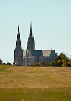 Our Lady of Chartres Cathedral, Chartres, France. Spectacular view of the cathedral from across the fields.