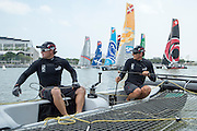 Glenn Ashby and Dean Barker. Emirates Team New Zealand practice for the first of the Extreme Sailing Series regattas being sailed in Singapore. 19/2/2014