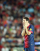 Lionel Messi reacts after missing a chance in the first half.  Barcelona v Real Madrid, Supercopa first leg, Camp Nou, Barcelona, 23rd August 2012...Credit - Eoin Mundow/Cleva Media.