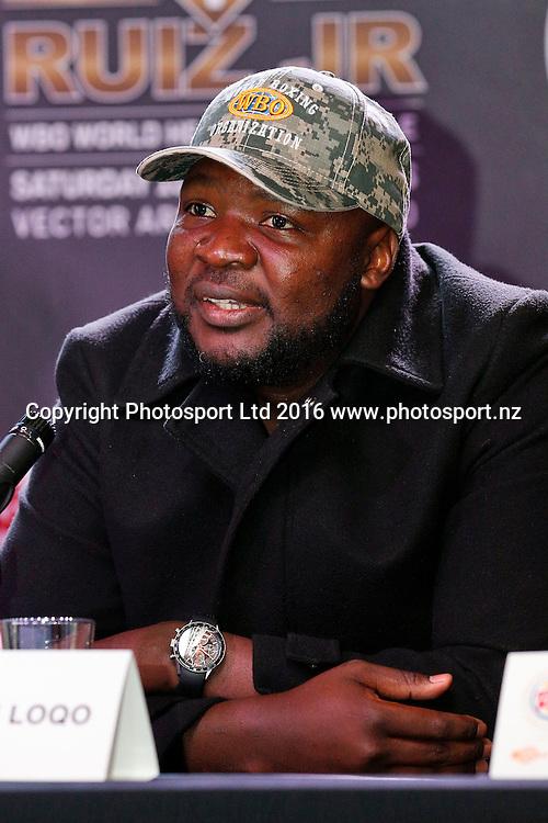 Ayanda Matiti, Final press conference before the December 10, Parker v Ruiz, WBO world boxing heavyweight title fight. Rec Bar, Auckland. 8 December 2016 / www.photosport.nz