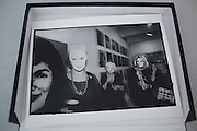 WOMEN IN MASKS, Kathleen Zimbimcki; Adrienne Heinrich; Eleanor Kriedberg wearing Warhol masks. Opening of the Warhol museum. Pittsburg. 1994.