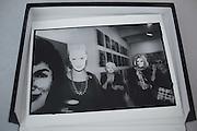 WOMEN IN MASKS, Kathleen Zimbimcki; Adrienne Heinrich; Eleanor Kriedberg wearing Warhol masks. Opening of the Warhol museum. Pittsburg. 1994.