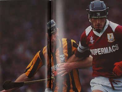 Galway's Joe Rabbitte is tackled by Kilkenny's Pat Dwyer in the 1993 All-Ireland final.
