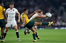 Joe Launchbury of England charges down a box-kick from Will Genia of Australia - Mandatory byline: Patrick Khachfe/JMP - 07966 386802 - 03/10/2015 - RUGBY UNION - Twickenham Stadium - London, England - England v Australia - Rugby World Cup 2015 Pool A.