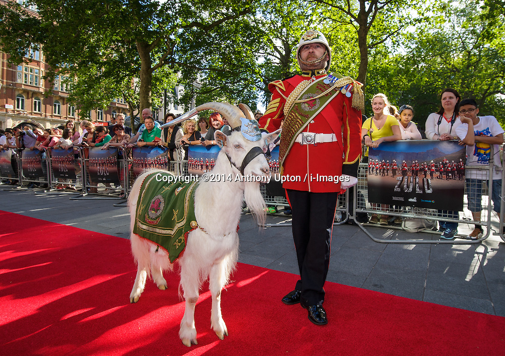 Image ©Licensed to i-Images Picture Agency. 10/06/2014. London, United Kingdom. HRH Prince Harry attends the 50th Anniversary of Zulu premiere. . Picture by Anthony Upton / i-Images<br /> Leicester Square, London, 10 June 2014: Sgt Mark Jackson with L/Cpl Shenkin, Regimental Mascot of the 3rd Battation Royal Welsh on the red carpet at a gala screening to celebrate the 50th Anniversary of Zulu where guests were joined by Prince Harry to watch a digitally remastered version of the iconic film. The evening was arranged to raise money for two charities supported by Prince Harry, Walking With The Wounded and Sentebale. <br /> For further info please contact<br /> Emily Conrad-Pickle Captive Minds<br /> Mobile: +44 (0)7799 414 790<br /> emily.conrad-pickles@captiveminds.com