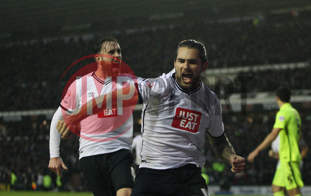 Bradley Johnson of Derby County celebrates scoring his sides first goal - Mandatory byline: Jack Phillips / JMP - 07966386802 - 12/12/2015 - FOOTBALL - The iPro Stadium - Derby, Derbyshire - Derby County v Brighton & Hove Albion - Sky Bet Championship