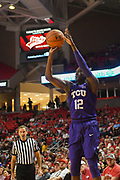 LUBBOCK, TX - MARCH 3: Kouat Noi #12 of the TCU Horned Frogs shoots the ball during the game against the Texas Tech Red Raiders on March 3, 2018 at United Supermarket Arena in Lubbock, Texas. Texas Tech defeated TCU 79-75. Texas Tech defeated TCU 79-75. (Photo by John Weast/Getty Images) *** Local Caption *** Kouat Noi