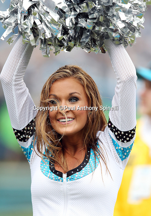 A Carolina Panthers cheerleader waves her pom poms as she cheers during the 2015 NFL week 3 regular season football game against the New Orleans Saints on Sunday, Sept. 27, 2015 in Charlotte, N.C. The Panthers won the game 27-22. (©Paul Anthony Spinelli)