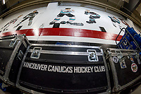 KELOWNA, BC - SEPTEMBER 29:  The Vancouver Canucks equipment container stands below the mural of former Kelowna Rockets' players during the last pre-season game against the Arizona Coyotes at Prospera Place on September 29, 2018 in Kelowna, Canada. (Photo by Marissa Baecker/NHLI via Getty Images)  *** Local Caption ***