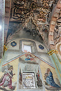 Inside the Sanctuary of Atotonilco with Mexican folk Baroque murals painted on the ceiling and walls in Atotonilco, Mexico. The paintings were done by Antonio Martinez de Pocasangre and Jose Maria Barajas over a period of thirty years and is known as the Sistine Chapel of Mexico.