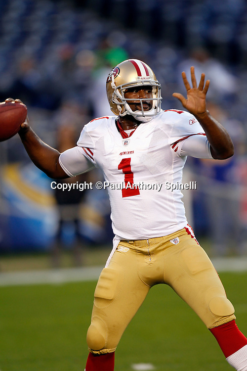 San Francisco 49ers quarterback Troy Smith (1) throws a pregame pass during the NFL week 15 football game against the San Diego Chargers on Thursday, December 16, 2010 in San Diego, California. The Chargers won the game 34-7. (©Paul Anthony Spinelli)