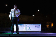President McDavis speaks at the Yell Like Hell Pep Rally on Thursday, October 8, 2015 in the Baker Center parking lot. Photo by Kaitlin Owens