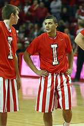 02 February 2013:  Jon Ekey and Kaza Keane dressed in retro uniforms during an NCAA Missouri Valley Conference mens basketball game where the Salukis of Southern Illinois lost to the Illinois State Redbirds for Retro-Night 83-47 in Redbird Arena, Normal IL