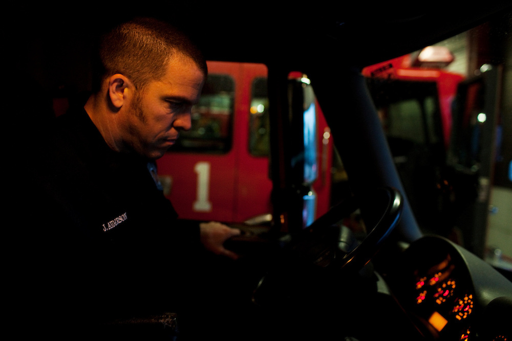 John Anderson, a firefighter and paramedic from Fire House 1 in Columbus, Ohio prepares to go on a run on Thursday, February 24, 2011. SB5 would eliminate collective bargaining rights for state workers, which Governor John Kasich claims is a necessary reaction to the budget crisis.