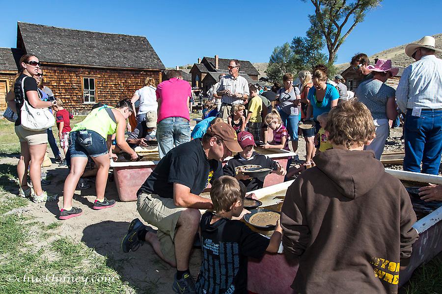 Panning for gold at Bannack Days festival at Bannack State Park, Montana, USA