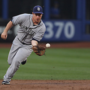 Jedd Gyorko, San Diego Padres, fielding at second base during the New York Mets Vs San Diego Padres MLB regular season baseball game at Citi Field, Queens, New York. USA. 29th July 2015. Photo Tim Clayton
