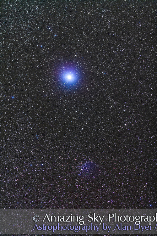 Sirius, the brightest star in the night sky. Below is the star cluster M41.<br /> <br /> Shot with the 200mm lens to simulate a binocular field of view. A stack of 2 x 2-minute exposures at f/2.8 and Canon 5D MkII at ISO 2000,