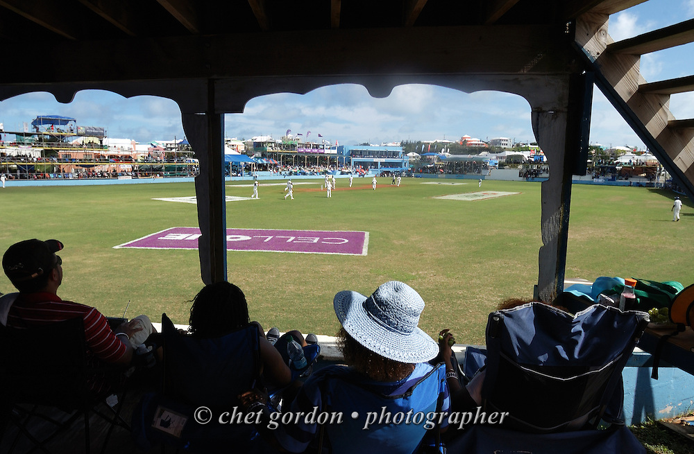 Bermudians watch the first day of Cup Match between the St. George's and Somerset Cricket Clubs at the St. George's Cricket Club in St. George's, Bermuda on Thursday, July 28, 2011. The 109th. Annual Cup Match takes place during the two day public holidays of Emancipation Day and Somers Day in Bermuda.