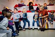 Princess Laurentien of The Netherlands read for children during the National reading breakfast in the children books museum in The Hague, The Netherlands, 24 January 2018. THE HAGUE - Princess Laurentien reads for children from the children's book Ssst! The tiger sleeps, in the National Reading Breakfast. DEN HAAG - Prinses Laurentien leest voor aan kinderen uit het kinderboek Ssst! De tijger slaapt, tijdens het Nationale Voorleesontbijt. robin utrecht