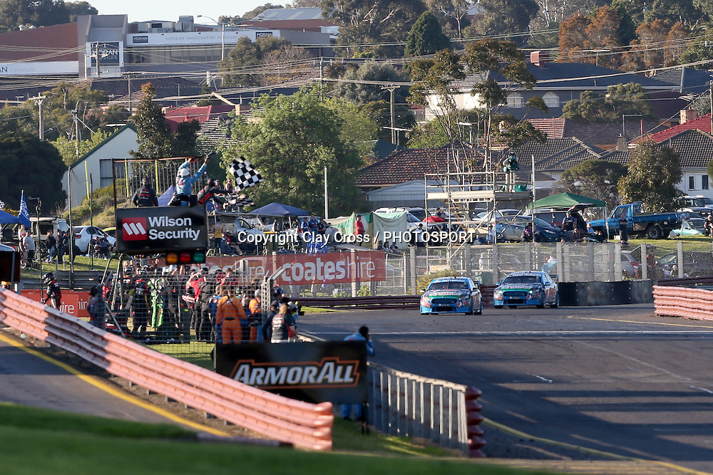 Mark Winterbottom & Steve Owen leading Chaz Mostert & Cameron Waters (Pepsi Max Ford). 2015 Wilson Security Sandown 500. V8 Supercars Championship Round 9. Sandown International Raceway, Victoria. Sunday 13 September 2015. Photo: Clay Cross / photosport.nz