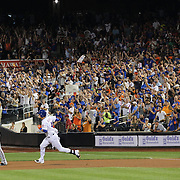 Wilmer Flores, New York Mets, hits a double pinch hitting in the eigth inning to the delight of the crowd during the New York Mets Vs Washington Nationals MLB regular season baseball game at Citi Field, Queens, New York. USA. 2nd August 2015. Photo Tim Clayton