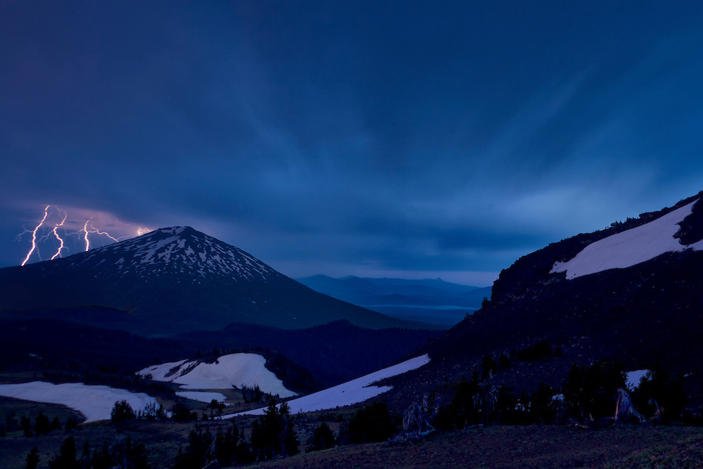 Lightning over Mt. Bachelor, Cascades Range, Oregon