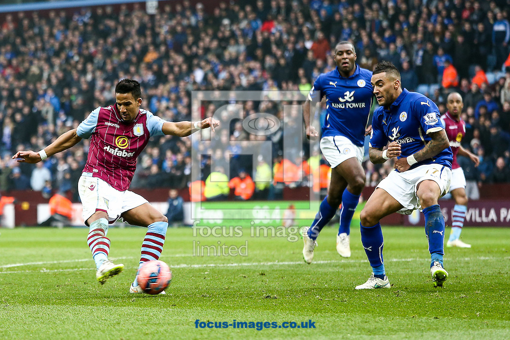 Leandro Bacuna of Aston Villa (left) scores their second goal during the FA Cup match at Villa Park, Birmingham<br /> Picture by Andy Kearns/Focus Images Ltd 0781 864 4264<br /> 15/02/2015