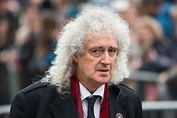 © Licensed to London News Pictures. 31/03/2018. Cambridge, UK. Former Queen guitarist BRIAN MAY arrives for The funeral of Stephen Hawking at Church of St Mary the Great in Cambridge, Cambridgeshire. Professor Hawking, who was famous for ground-breaking work on singularities and black hole mechanics, suffered from motor neurone disease from the age of 21. He died at his Cambridge home in the morning of 14 March 2018, at the age of 76. Photo credit: Ben Cawthra/LNP