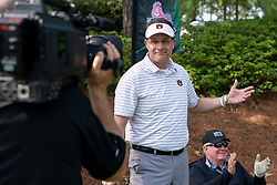Auburn head football coach Gus Malzahn celebrates winning the Chick-fil-A Peach Bowl Challenge Closest to the Pin Skills Competition at the Ritz Carlton Reynolds, Lake Oconee, on Monday, April 29, 2019, in Greensboro, GA. (Paul Abell via Abell Images for Chick-fil-A Peach Bowl Challenge)