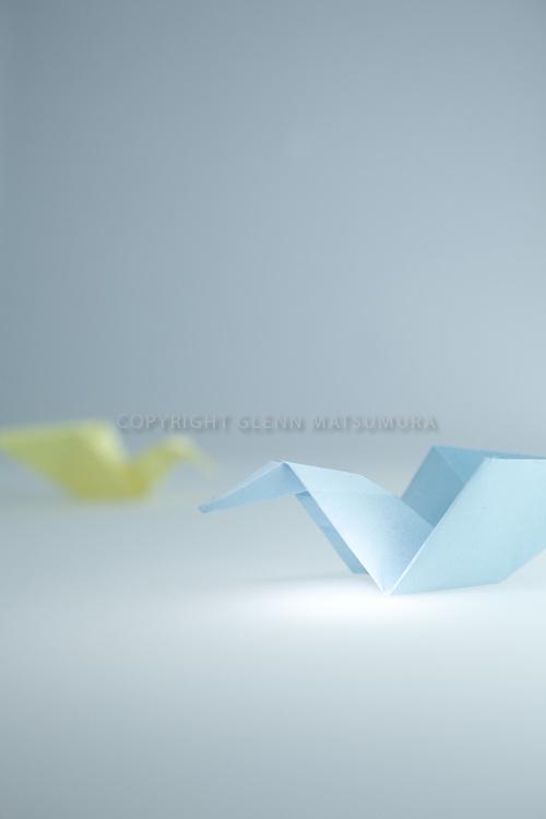 Paper cranes - blue and yellow paper cranes.