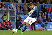 Birmingham City midfielder Stephen Gleeson scores the opening goal during the Sky Bet Championship match between Birmingham City and Middlesbrough at St Andrews, Birmingham, England on 29 April 2016. Photo by Alan Franklin.