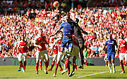 Petr Cech punching clear the danger during the FA Community Shield match between Chelsea and Arsenal at Wembley Stadium, London, England on 2 August 2015. Photo by Michael Hulf.