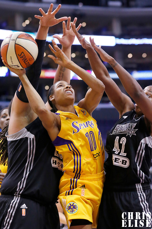 22 June 2014: guard Lindsey Harding (10) of the Los Angeles Sparks goes for the layup in the traffic against guard Shenise Johnson (42) of the San Antonio Stars during the San Antonio Stars 72-69 victory over the Los Angeles Sparks, at the Staples Center, Los Angeles, California, USA.