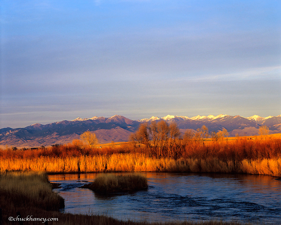 The Beaverhead river with the Ruby Range in background near Dillon Montana