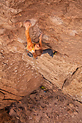 "Professional rock climber Lisa Rands leads ""Chocolate to Morphine"" rated 11C in California's Owens River Gorge"
