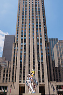 "Jeff Koons' ""Seated Ballerina"" inflatable sculpture at Rockefeller Center."