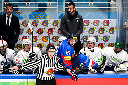 Linesman Frederic Monnaie (BEL) and Eric Regan of South Korea during ice hockey match between South Korea and Slovenia at IIHF World Championship DIV. I Group A Kazakhstan 2019, on April 30, 2019 in Barys Arena, Nur-Sultan, Kazakhstan. Photo by Matic Klansek Velej / Sportida