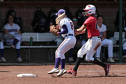 19 April 2014: Mariah Ferguson gets the throw out at first on Laura Canopy during an NCAA women's softball game between the Evansville Purple Aces and the Illinois State Redbirds on Marian Kneer Field in Normal IL