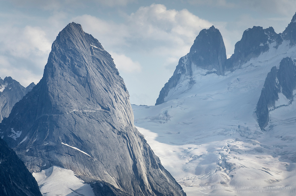 Bugaboo Spire, Howers Towers and Vowell Glacier in distance. Bugaboo Provincial Park. Purcell Mountains British Columbia