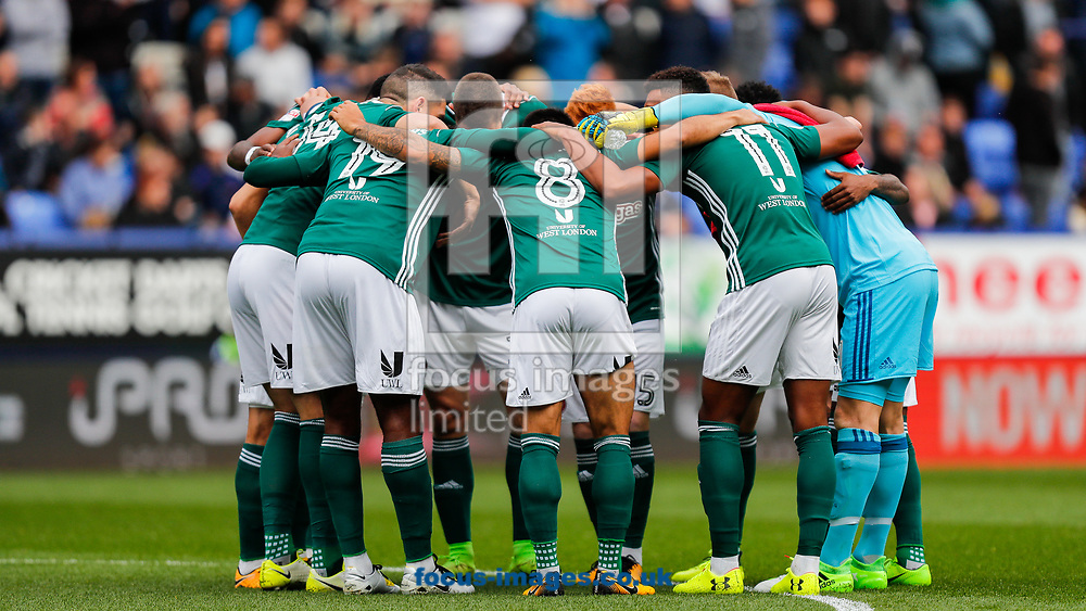 Brentford players huddle prior to the Sky Bet Championship match between Bolton Wanderers and Brentford at the Macron Stadium, Bolton<br /> Picture by Mark D Fuller/Focus Images Ltd +44 7774 216216<br /> 23/09/2017
