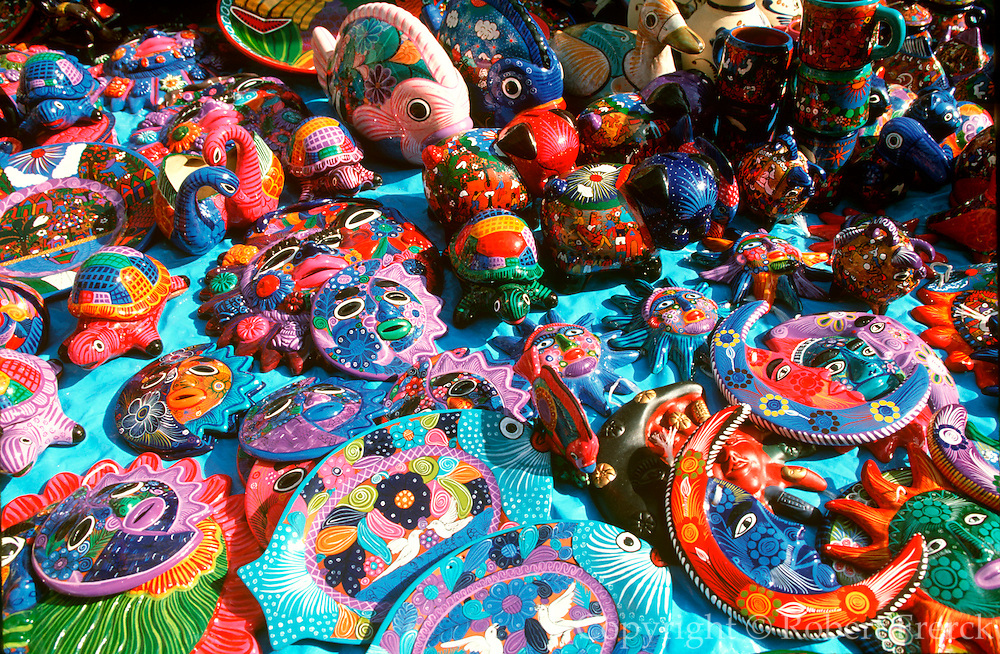 MEXICO, OAXACA wood carvings in the market