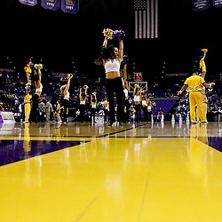 Jan 5, 2013; Baton Rouge, LA, USA; LSU Tigers cheerleaders and tiger girls perform on the court during the second half of a game against the Bethune-Cookman Wildcats at the Pete Maravich Assembly Center. LSU defeated Bethune-Cookman 79-63. Mandatory Credit: Derick E. Hingle-USA TODAY Sports