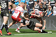 Hull FC centre Jack Logan (24) defends his try line during the Betfred Super League match between Hull FC and Hull Kingston Rovers at Kingston Communications Stadium, Hull, United Kingdom on 19 April 2019.
