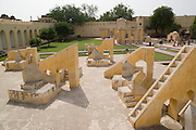 India, Rajasthan, Jaipur. The Jantar Mantar astronomical park from 1728 Rashivalaya Yantra - 12 devices representing the 12 Zodiac signs for astrological calculations and prophecies.